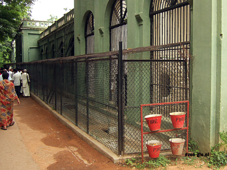 2008 Fire buckets stand near tiger enclosure