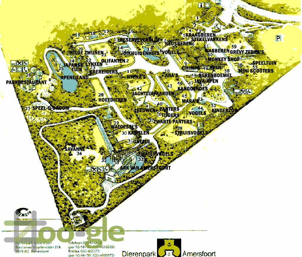Zoo map animal park Amersfoort 1996