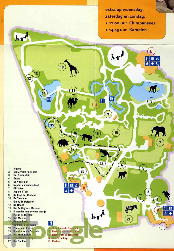 Zoo map animal park Amersfoort 2005