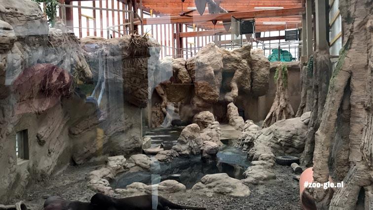2019 Kasgebouw voor reuzenotters met houten frame, glaspanelen en kunstmatige rotsen