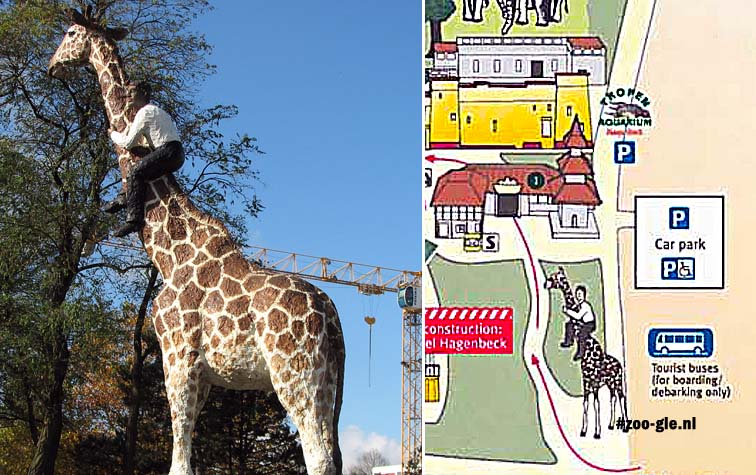 2007 8m high giraffe, by Stephan Balkenhol; on the zoo map, the rider has been depicted white.