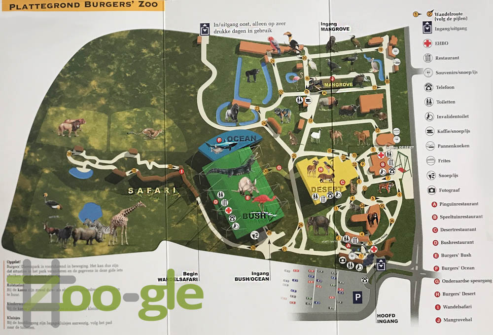 Zoo map Burgers' Zoo Arnhem 2003