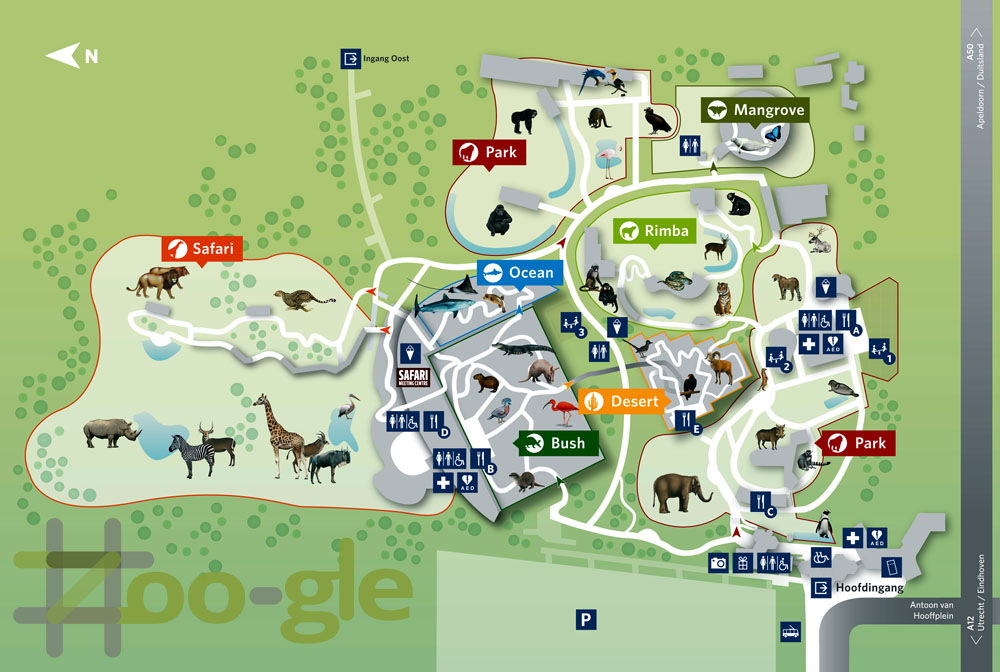 Zoo map Burgers' Zoo Arnhem 2017