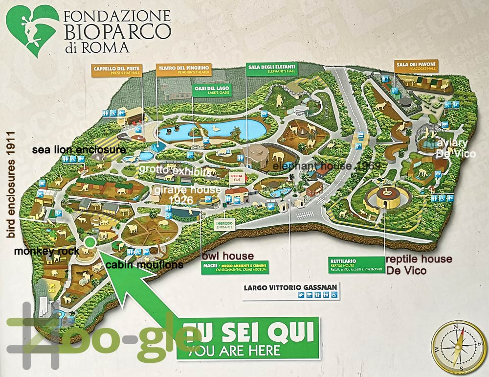 Zoo map Bioparco di Rome 2019