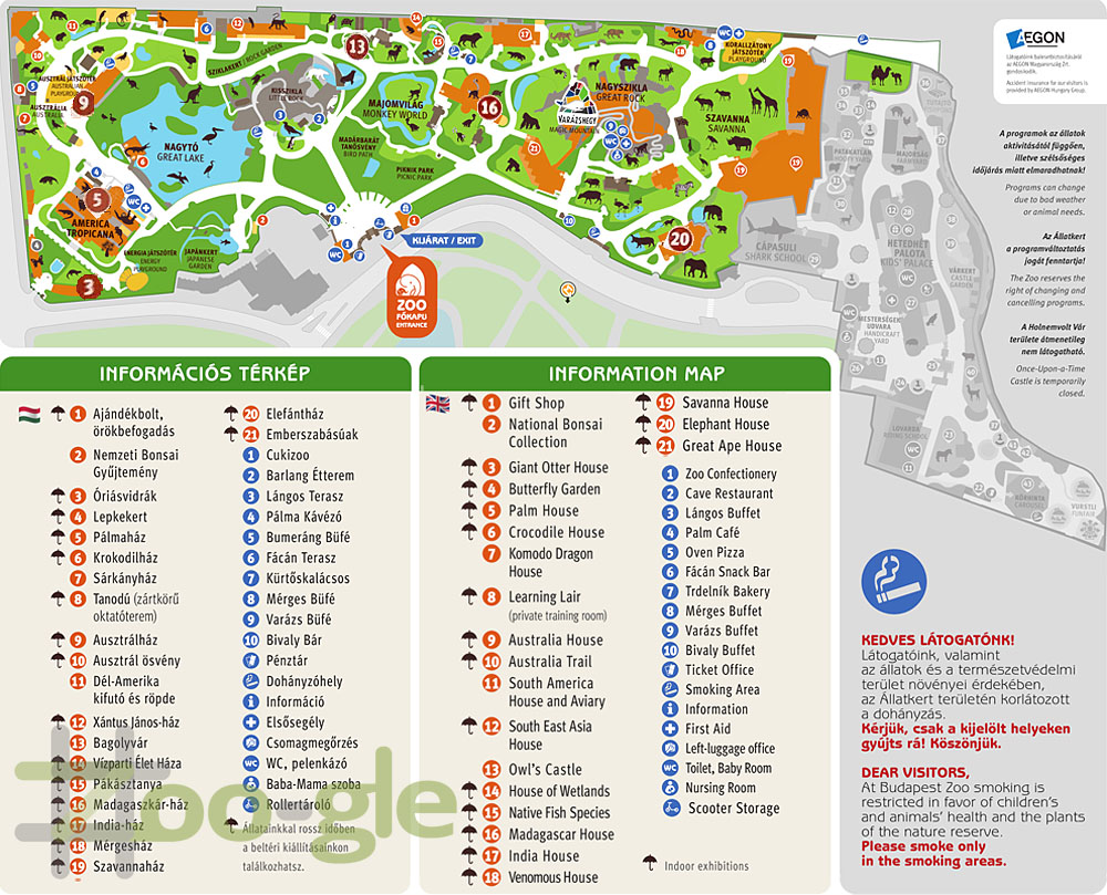 Zoo map Budapest 2019